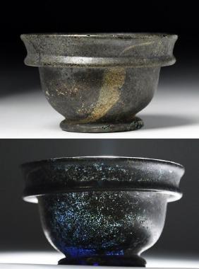 Roman Blue Glass Patella Bowl