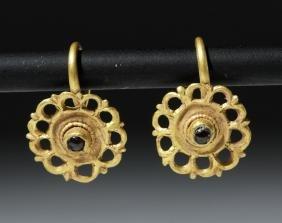 Lovely Roman 22K+ Gold Earrings w/ Garnets
