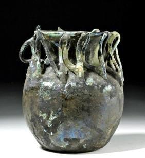 Roman Glass Jar w/ Rigaree & Fiery Iridescence