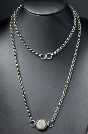 Roman Byzantine Silver Rolo Chain w/ Glass Pendant