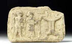 Near Eastern Terracotta Plaque with Altar Scene