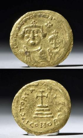 Byzantine Gold AU Solidus Coin - Heraclius