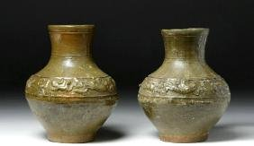 Pair of Chinese Han Dynasty Olive Green Glazed Hu Vases
