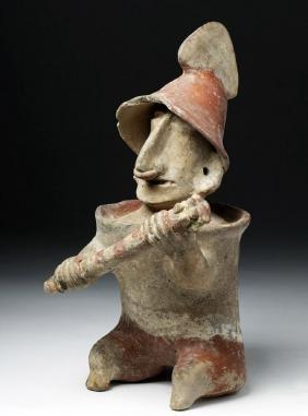 Jalisco Bi-chrome Pottery Seated Warrior