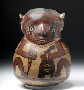 Nazca Polychrome Vessel - Warrior with Trophy Head