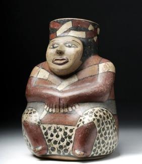 Fine Nazca Polychrome Figural Vessel - ex-Lands Beyond