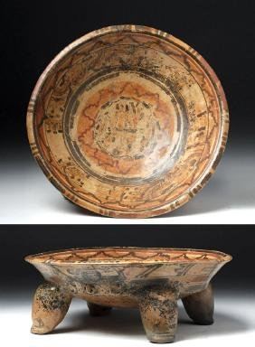 Mayan Ulua Valley Polychrome Footed Plate
