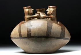 Inca Bi-chrome Jar with Beer Drinking Friends