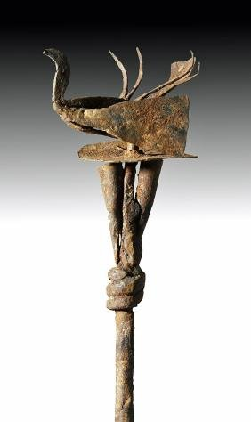 Fine 20th C. African Yoruba Iron Staff w/ Birds & Bells