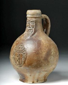 Fine16th C. German Bellarmine Pottery Jug