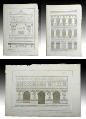 Trio of 18th C. Italian Etchings, Detailed Architecture