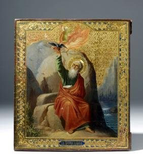 19th C. Russian Icon, Fiery Ascension of Prophet Elijah