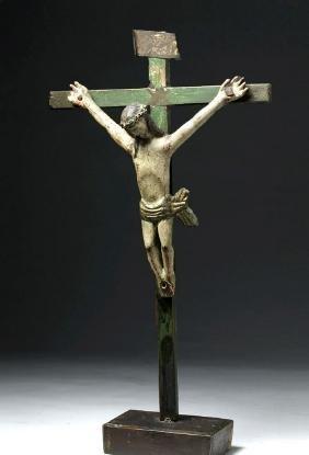 19th C. Guatemalan Painted Wood Cristo