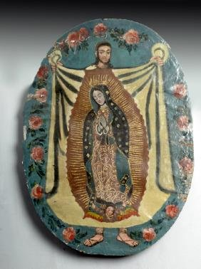 Old Mexican Painted Canvas Retablo, Virgin of Guadalupe
