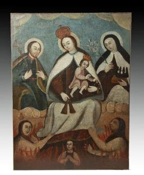 19th C Mexican Painting - Mary, St John, St Teresa