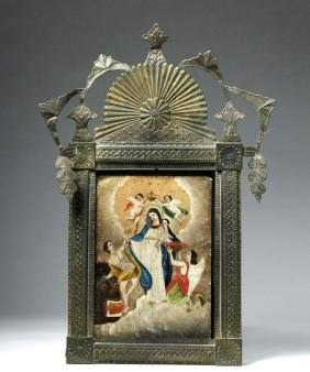 19th C. Mexican Nicho w/ La Madre Santisima de la Luz