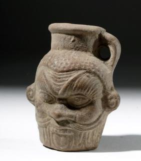 Egyptian Pottery Jarlet - Protective God Bes