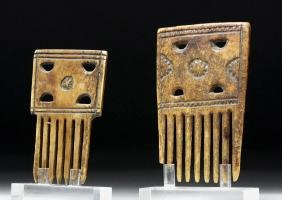 Pair Coptic Carved Bone Combs, purportedly ex-Sotheby's