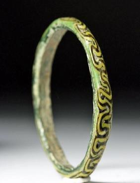 Egyptian Byzantine Glass Bracelet, Swirled Design