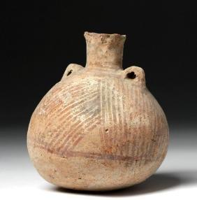 Greek Cypriot Bi-chrome Terracotta Oil Vessel