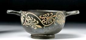 Greek Pottery Xenon Ware Skyphos - Leaf Motif