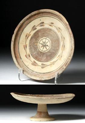 Greek Messapian Pottery Stemmed Plate