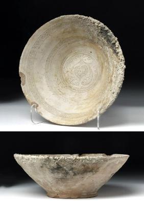 Islamic Pottery Sea-Salvaged Sgraffiato Bowl
