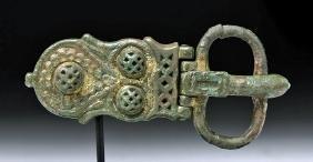 Persian Gilded Bronze Belt Buckle