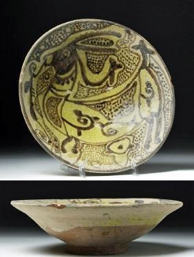 Persian Glazed Ceramic Bowl - Ibex