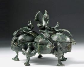 Islamic Bronze Box - Five Compartments, Bird Motifs