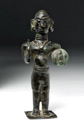 Miniature 19th C. Indian Bronze Warrior