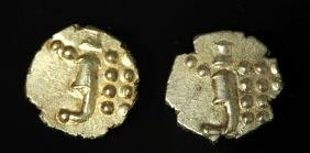 Pair of 18th C. Dutch Indian Gold Coins - Fanam