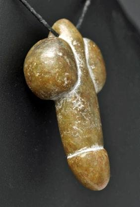 Chinese Song Dynasty Greenstone Phallic Pendant