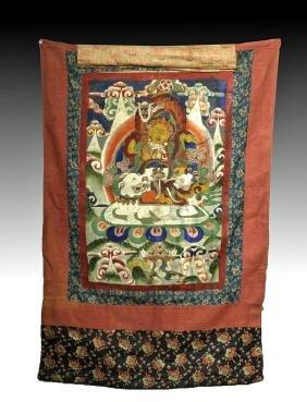 19th C. Tibetan Thangka - Wealth God - Yellow Jambhala