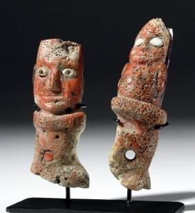 Two Chavin Shell & Stone Atl Atl Grips