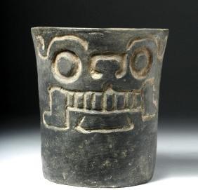 Monte Alban Skull Face Cylinder Vase