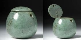 Rare Costa Rican Jade Lidded Miniature Jar