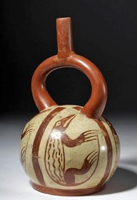 Moche IV Fineline Pottery Stirrup w/ Lizards