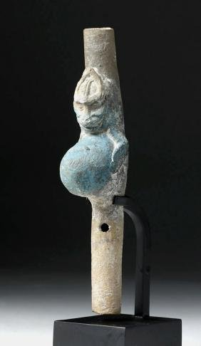Mayan Earthenware Warrior Flute, Original Blue Pigment