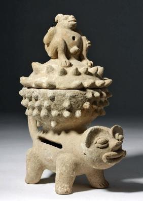 Costa Rican Lidded Pottery Incensario - Jaguar, Monkey