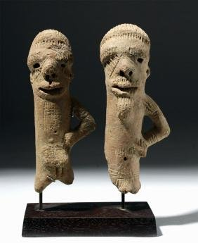 Pair of Sokoto Terracotta Figures - Male & Female