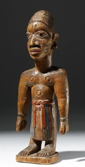 Yoruba Wood Carved Male Ibeji Figure - ex Royal Athena