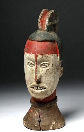 20th C. African Igbo Wood Anthropomorphic Headpiece