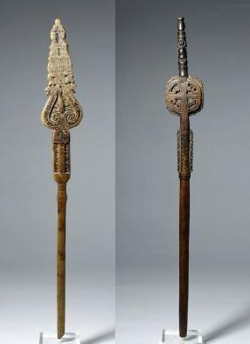 19th C. Greek Carved Wood Shepherd's Distaffs (2)