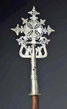 19th C. Ethiopian Silver Processional Cross