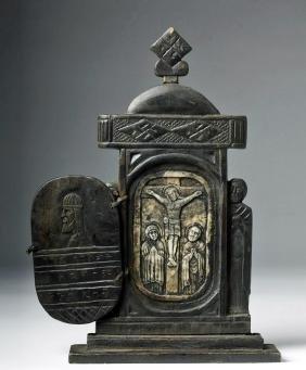 19th C. Coptic Wood / Bone Devotional Icon