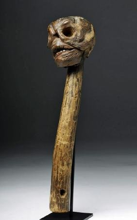 17th C. Mexican Wood Scepter Surmounted by a Skull