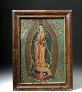 Lady of Guadalupe Retablo on Tin with Old Wood Frame