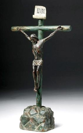 19th C. Guatemalan Carved Wood Cristo Negro