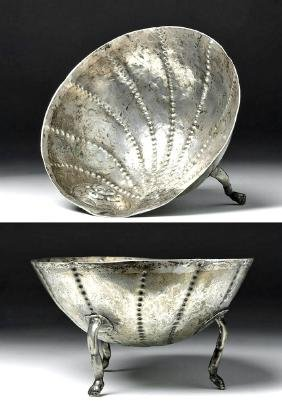 18th C. Spanish Colonial Repousse Silver Baptismal Bowl